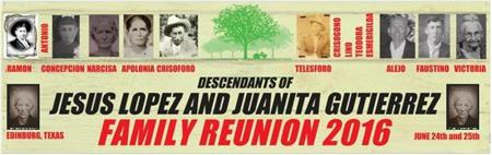 REUNION FOR DESCENDANTS OF JESUS LOPEZ AND JUANITA GUTIERREZ 2016