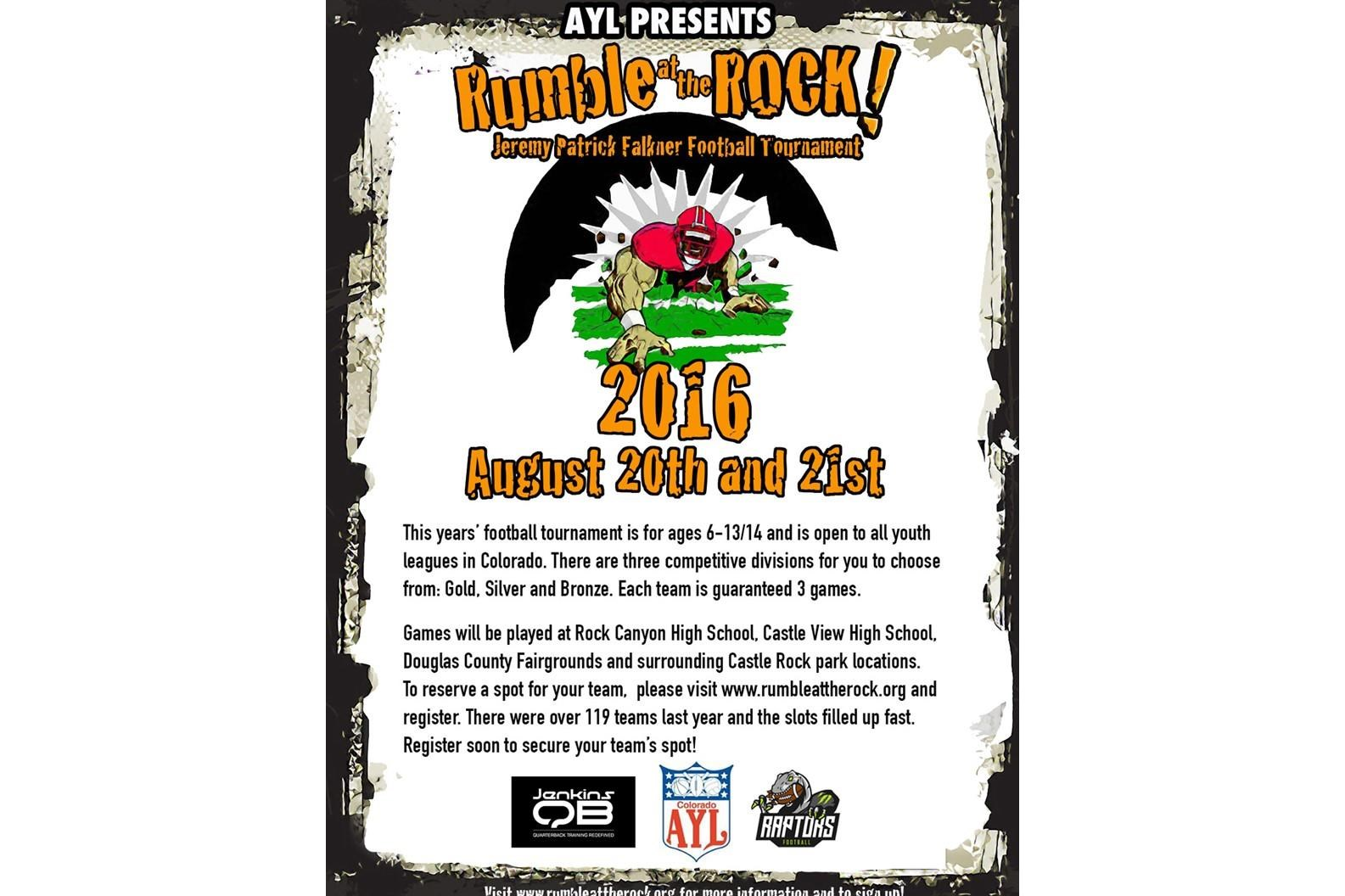 2016 RUMBLE AT THE ROCK Football Registration